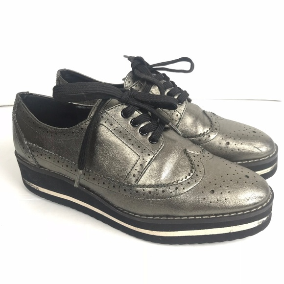 ZARA Creepers Loafers Silver Black White Lace Up